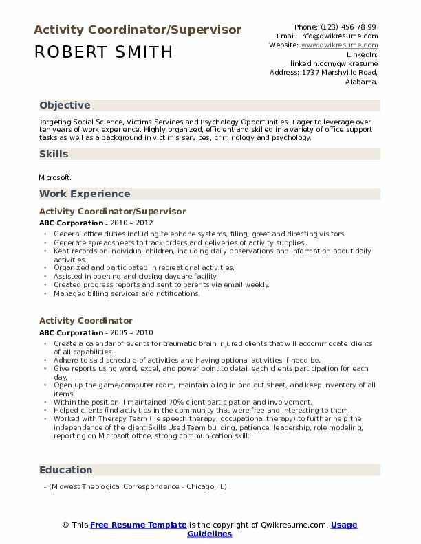 Activity Coordinator/Supervisor Resume Template