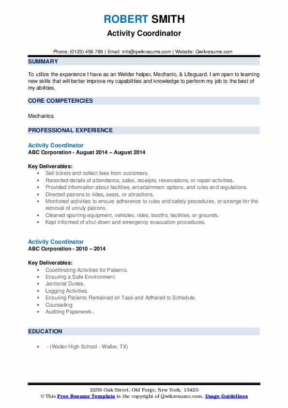 Activity Coordinator Resume example