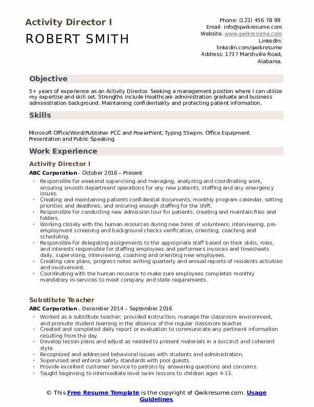 Activity Director I Resume Format