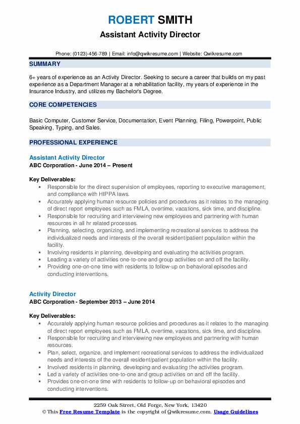 Assistant Activity Director Resume Template