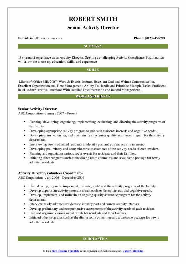 Senior Activity Director Resume Format