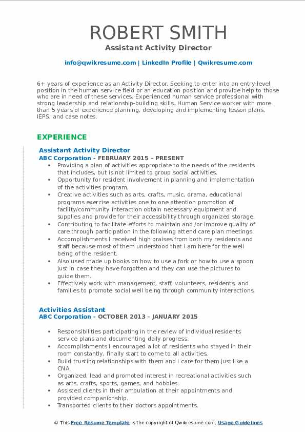 activity director resume samples