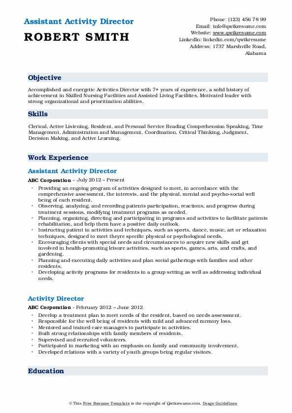 Assistant Activity Director Resume Format