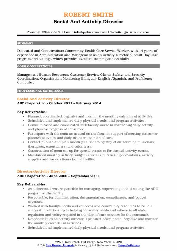 Social And Activity Director Resume Example