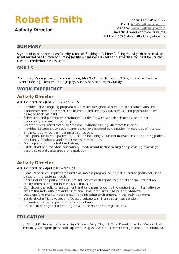 Activity Director Resume example