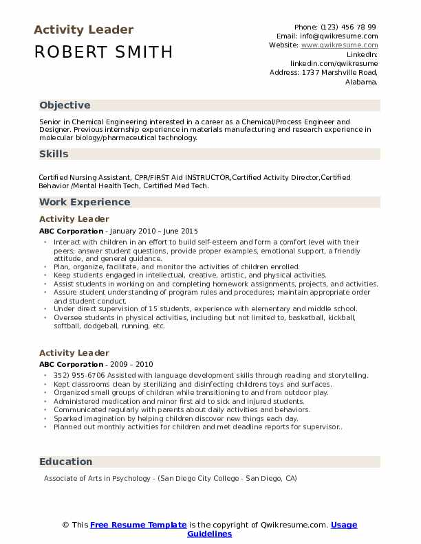 activity leader resume samples
