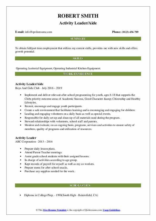 Activity Leader/Aide Resume Model