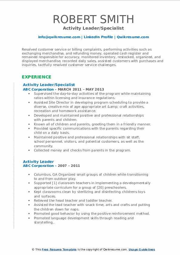 Activity Leader/Specialist Resume Sample