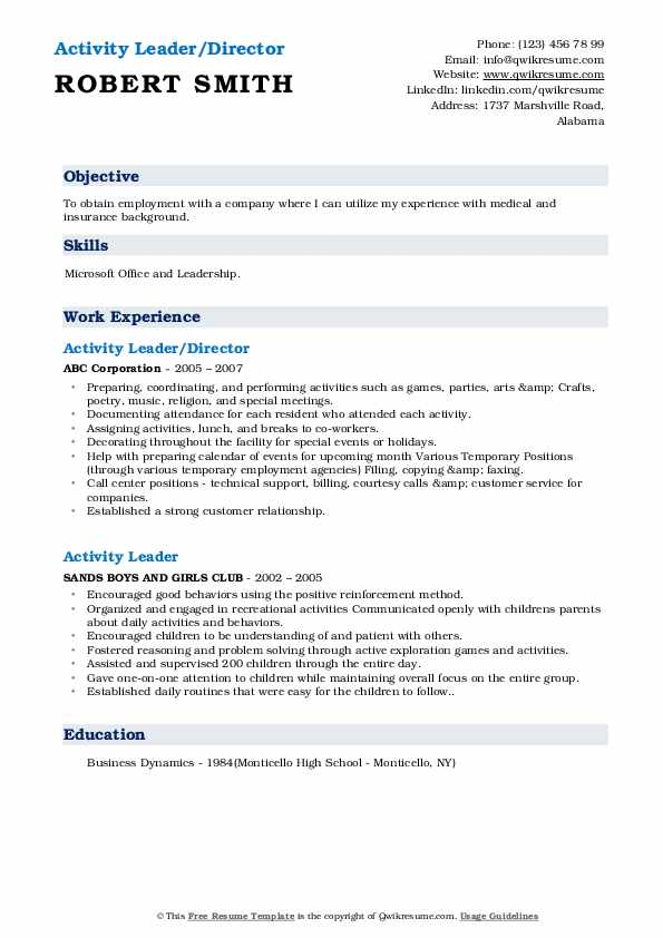 Activity Leader/Director Resume Example