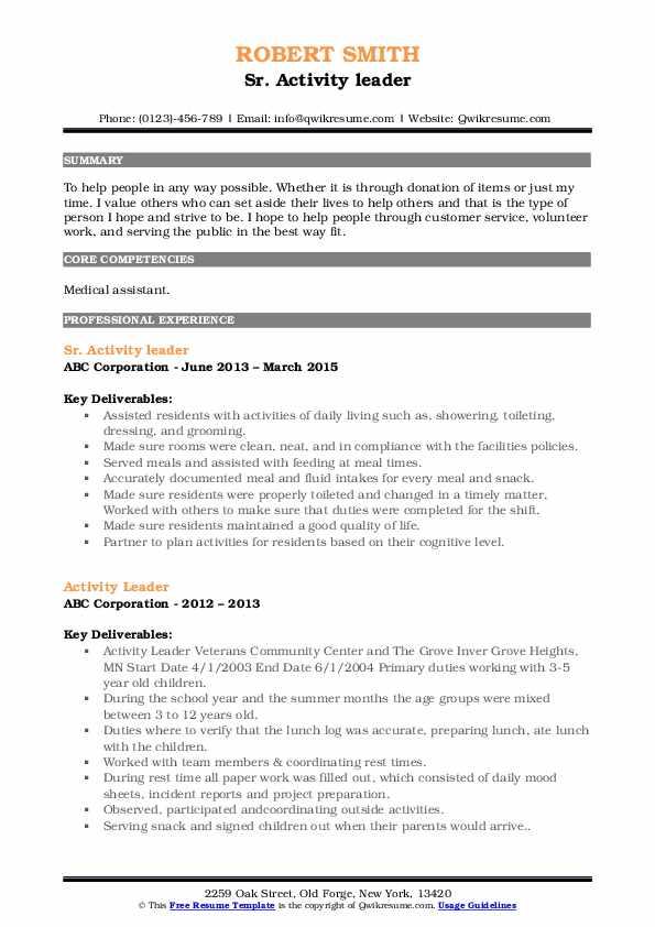 Sr. Activity leader Resume Example