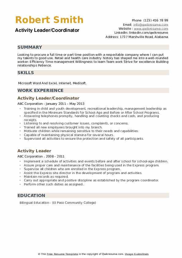 Activity Leader/Coordinator Resume Template