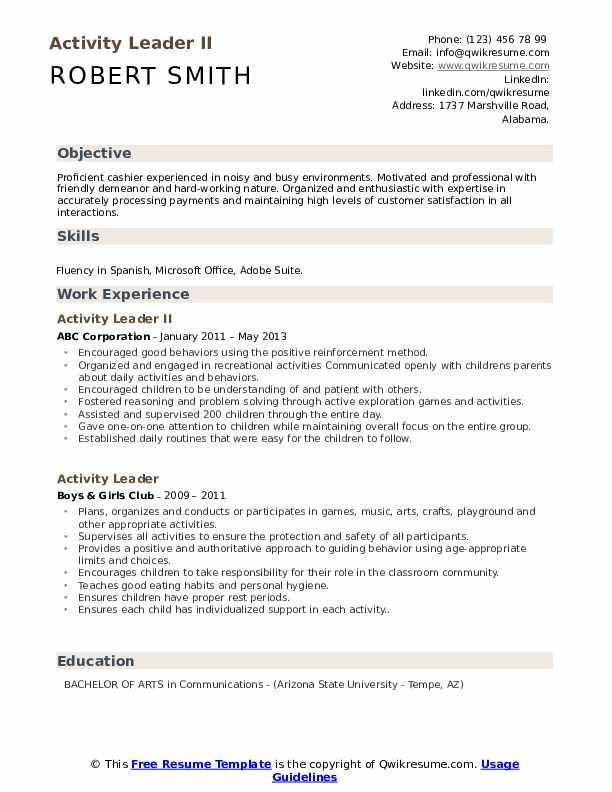 Activity Leader II Resume Sample