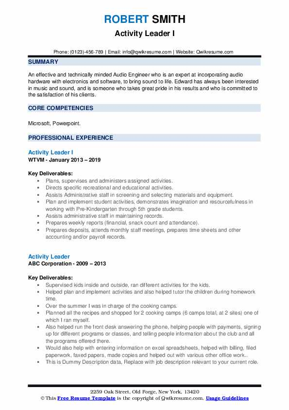 Activity Leader I Resume Template