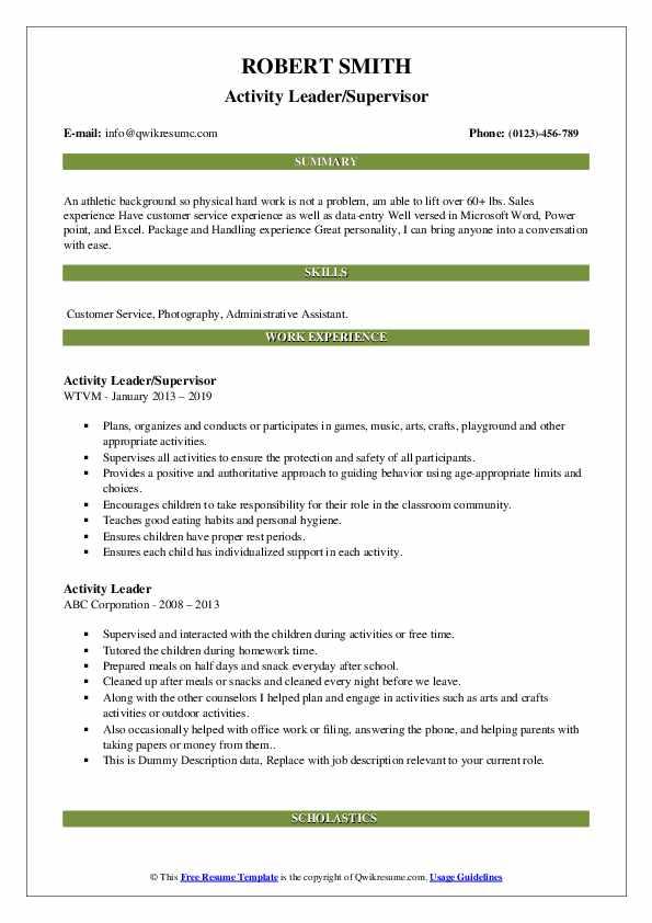 Activity Leader/Supervisor Resume Format