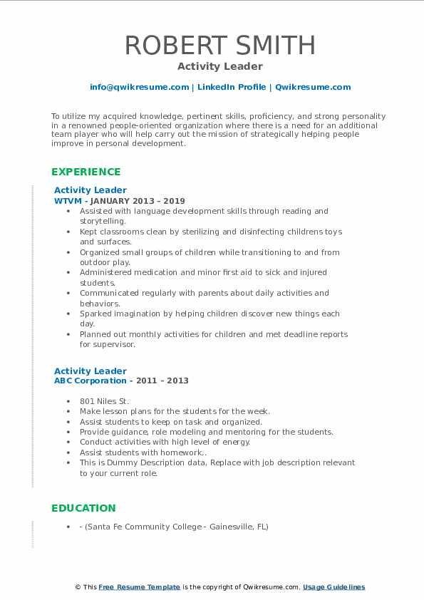 Activity Leader Resume example