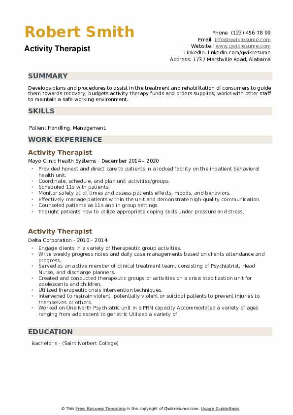 Activity Therapist Resume example