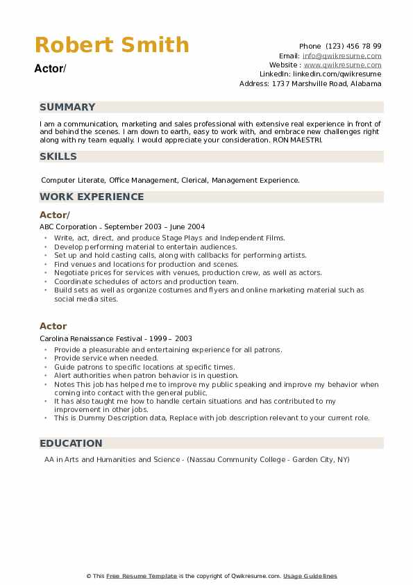 Actor Resume example