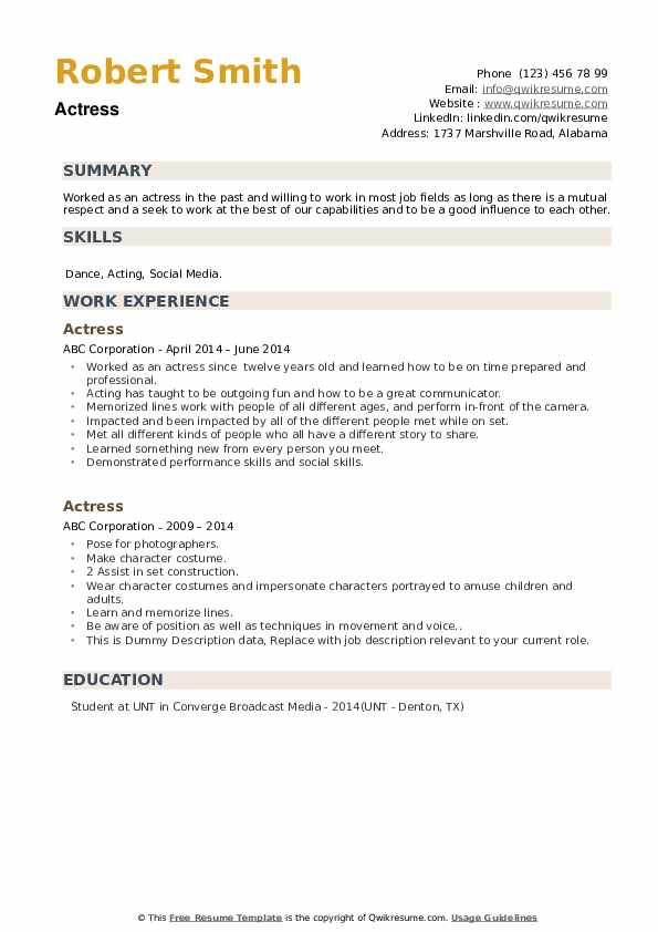 Actress Resume example