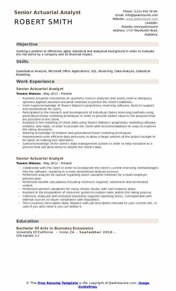 Senior Actuarial Analyst Resume Model