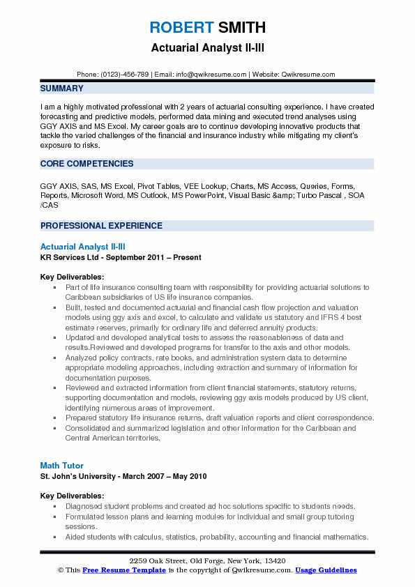 Actuarial Analyst II-III Resume Model