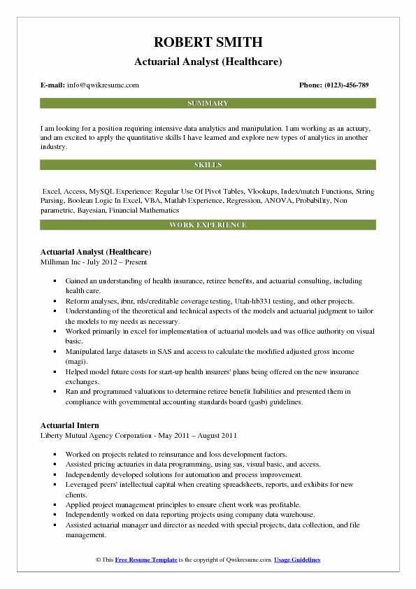 Actuarial Analyst (Healthcare) Resume Sample