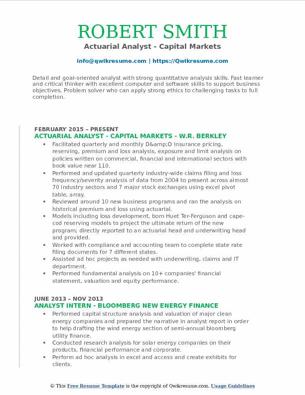 Actuarial Analyst - Capital Markets Resume Template