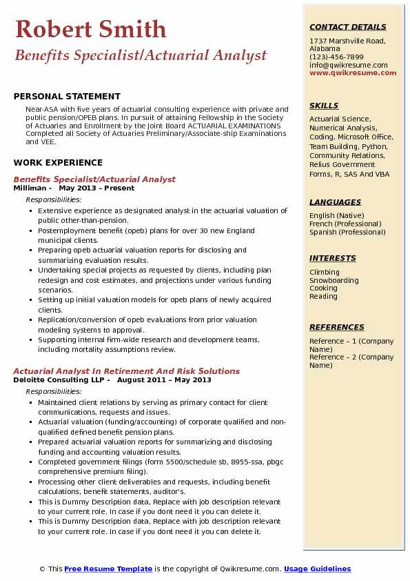 Benefits Specialist/Actuarial Analyst Resume Example