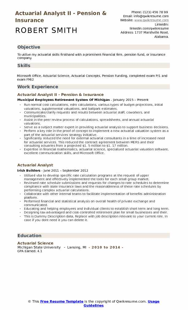 actuarial analyst ii pension insurance resume sample - Actuary Resume