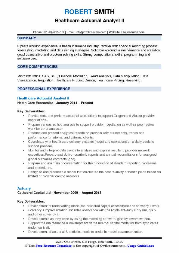 Healthcare Actuarial Analyst II Resume Template