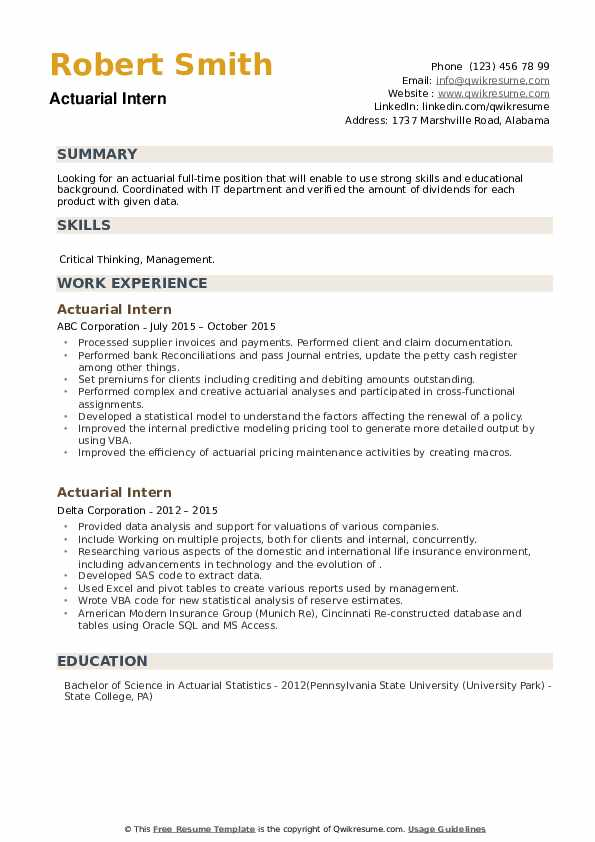 Actuarial Intern Resume example