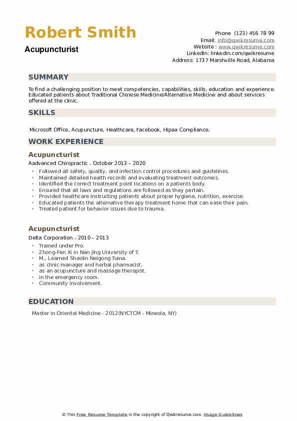 Acupuncturist Resume example