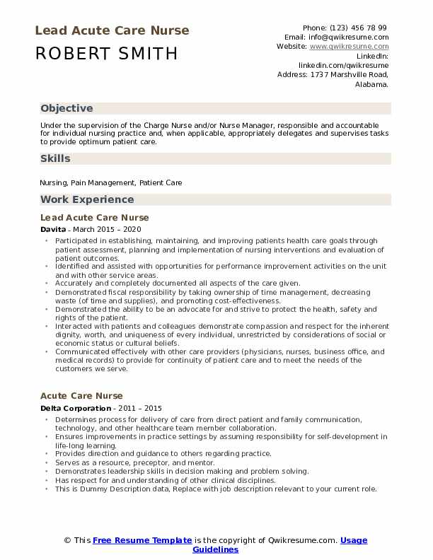 Intitle resume rn wa acute care example of cover page of research paper