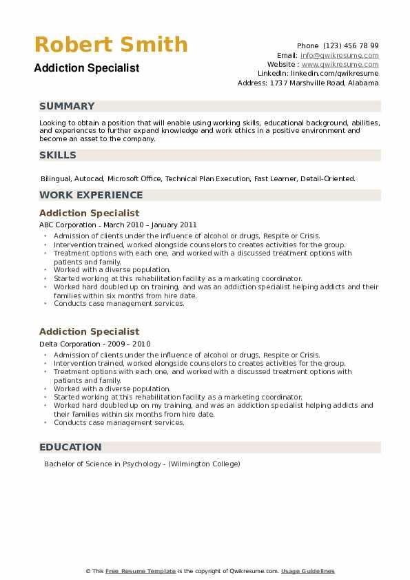 Addiction Specialist Resume example