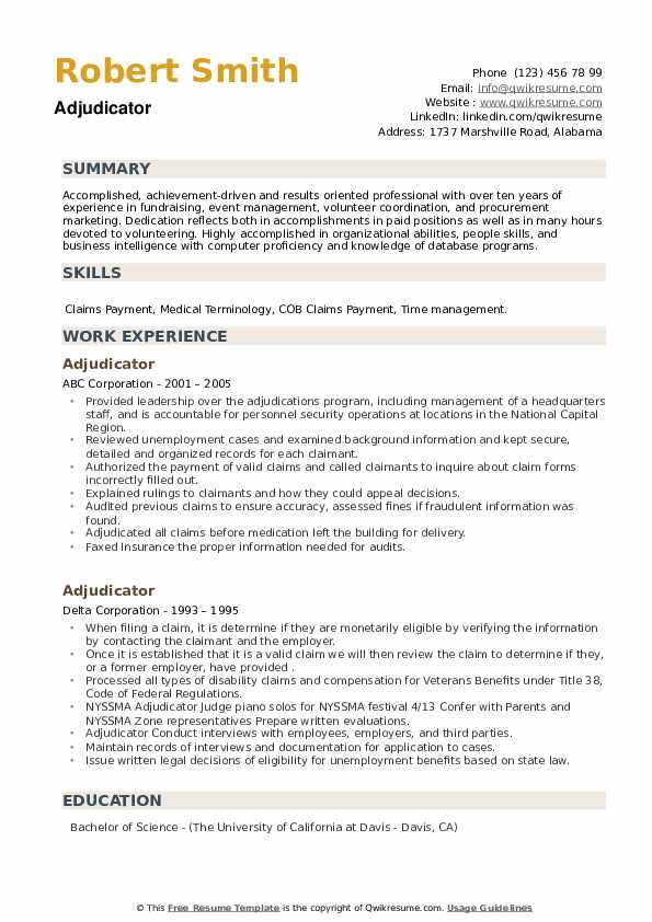 Adjudicator Resume example