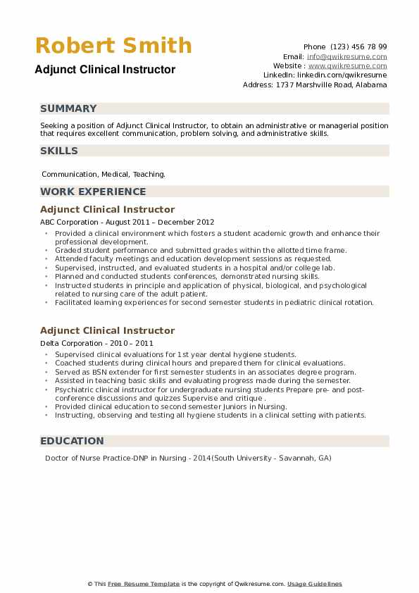 Adjunct Clinical Instructor Resume example