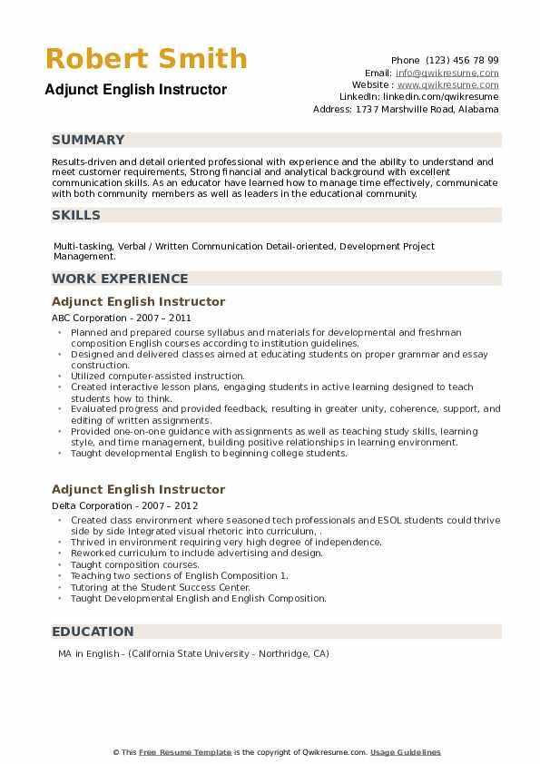 Adjunct English Instructor Resume example