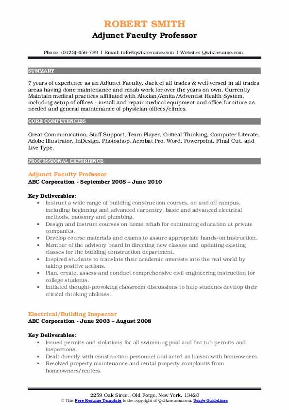 Adjunct Faculty Professor Resume Template