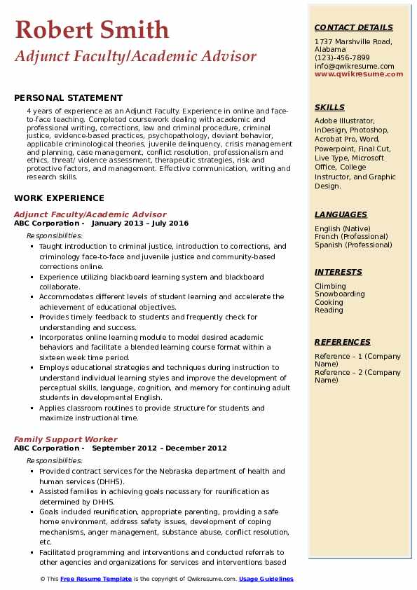 Adjunct Faculty/Academic Advisor Resume Format