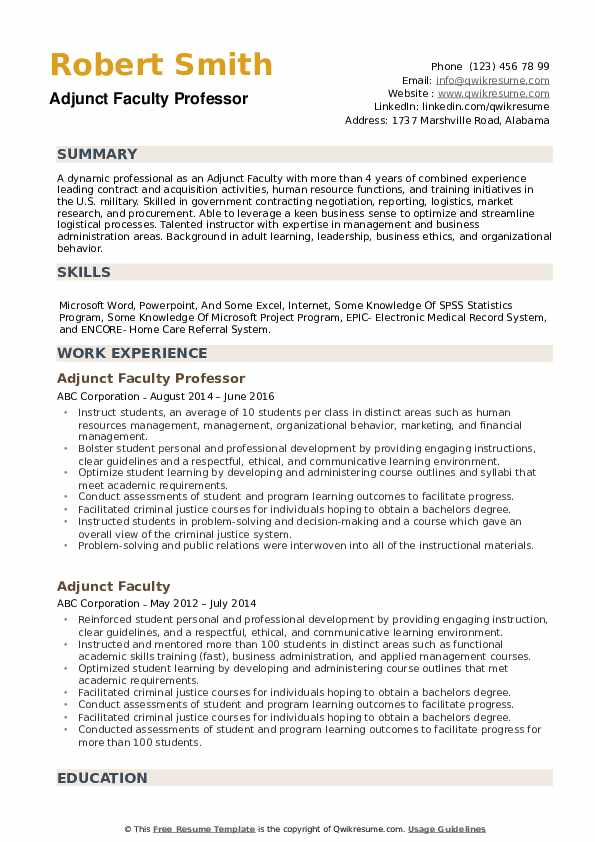 Adjunct Faculty Resume example