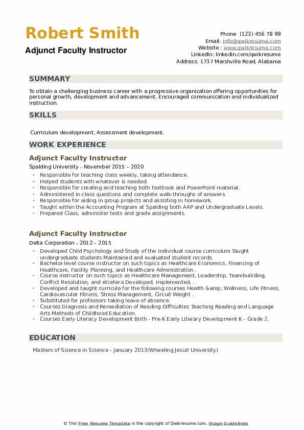 Adjunct Faculty Instructor Resume example