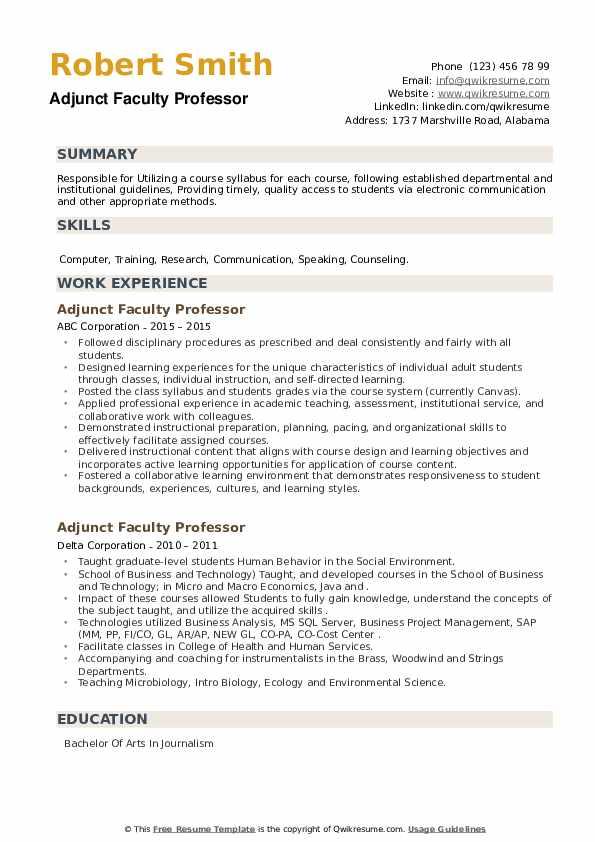Adjunct Faculty Professor Resume example