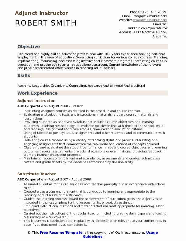 Adjunct Instructor Resume Format