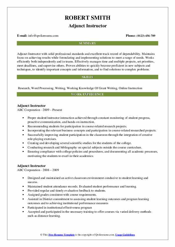 Adjunct Instructor Resume Example
