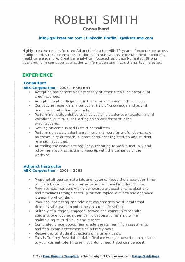 Consultant Resume Format