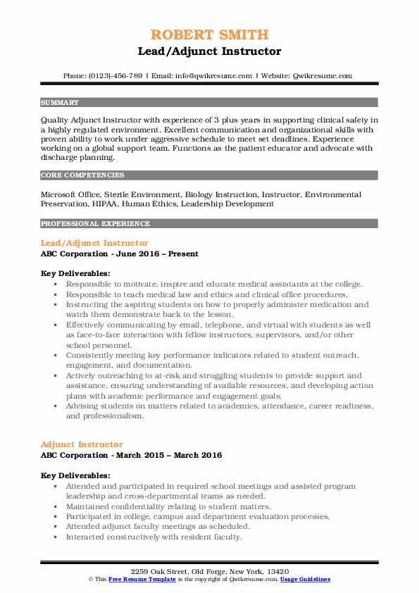 Lead/Adjunct Instructor Resume Example