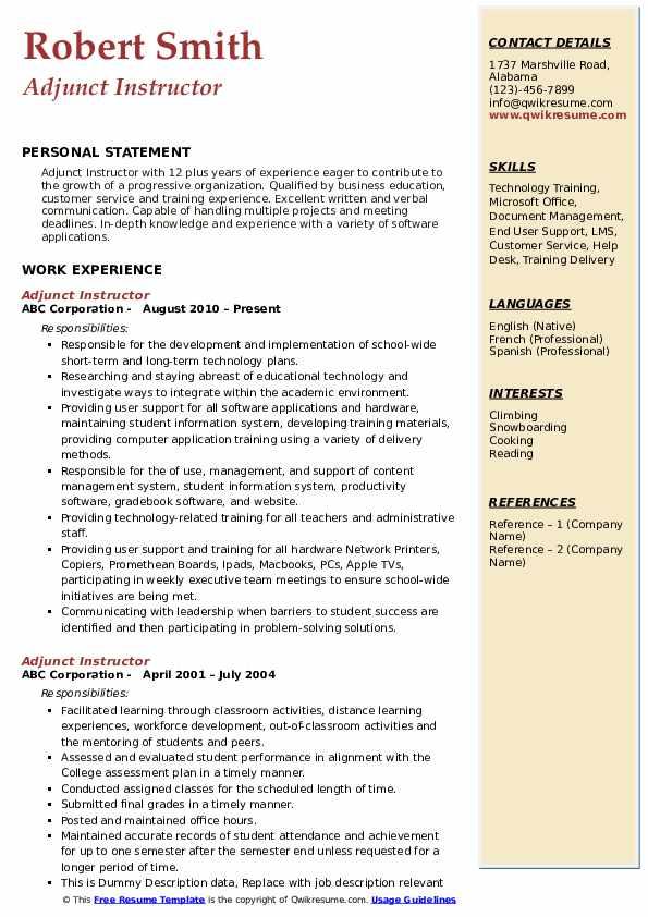Adjunct Instructor Resume Example