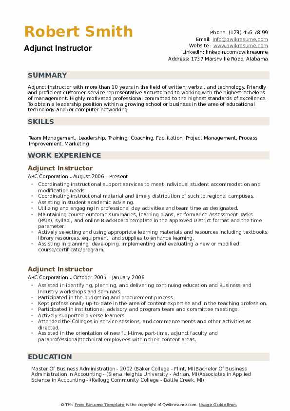 Adjunct Instructor Resume Model