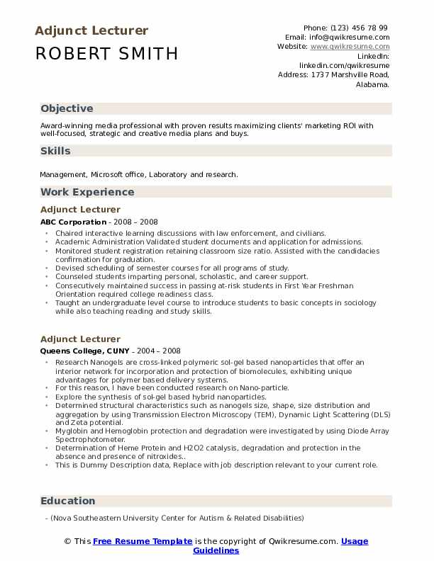 Adjunct Lecturer Resume example