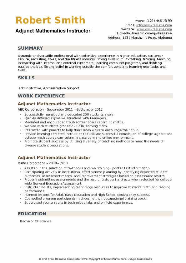 Adjunct Mathematics Instructor Resume example