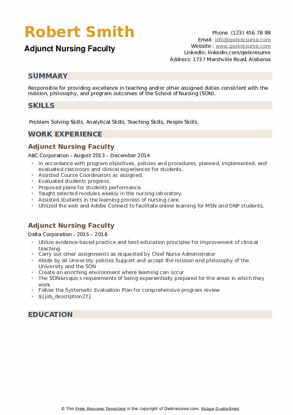 Adjunct Nursing Faculty Resume example